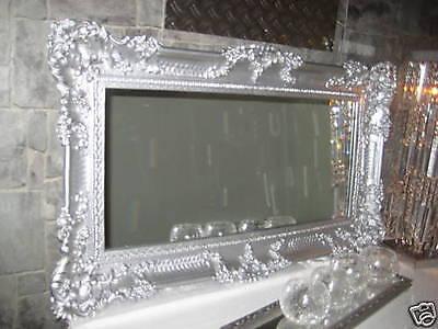 Espejo de Pared Espejo Barroco Grande Plata Alto Brillo 97x57 Antiguo Marco
