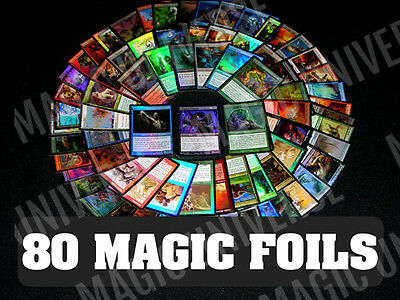 80 ASSORTED FOIL MTG MAGIC: THE GATHERING CARDS With FOIL RARES! ALL - Assorted Foil
