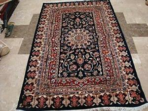 Mid Night Blue Love Flowers Area Rug Hand Knotted Wool Silk Carpet (6 x 4)'