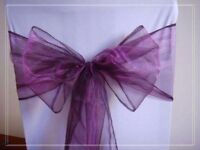92 Purple organza chair sashs