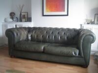 Chesterfield leather sofa.