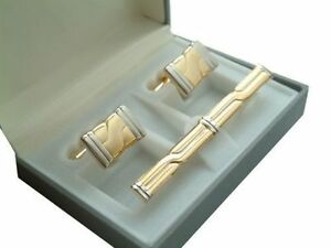 3-Piece Mens Cufflinks & Tie Clip Set in Gift Box - New