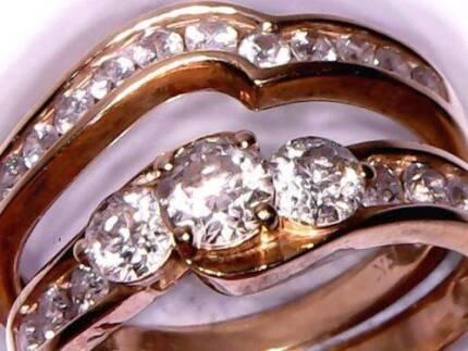$5045 CERT 100% GENUINE 1.53CT DIAMONDS BRIDAL RING SET 14K GOLD