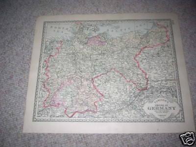 1888 GERMANY GERMAN  EMPIRE  antique map ORIGINAL HAND COLORED