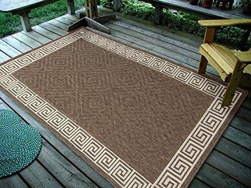 3 3 X5 Contemporary Geometric Brown Indoor Outdoor Area Rug 1113