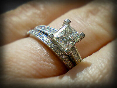 2.90 Ct. Natural Princess Cut Pave Diamond Wedding Set - GIA Certified