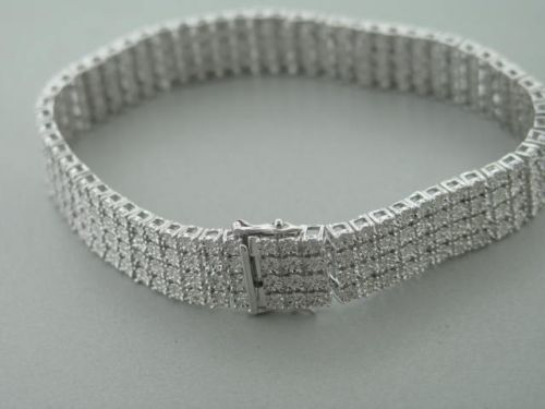 4 Row Men's Tennis Bracelet with Natural Diamonds in White Gold Finish 1