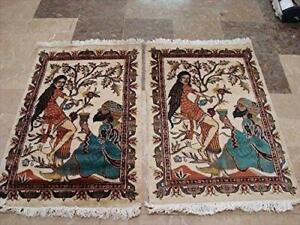 Awesome Umre Khayam Love Hand Knotted Oriental Rug Wool Silk Carpet Pair (3 x 2)'