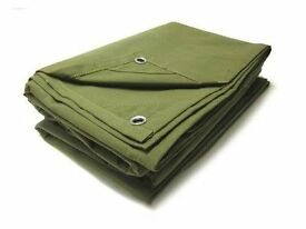 For sale. Reinforced Tarpaulins in green or blue. 5.4m x 3.5m in size. £7.00 each.