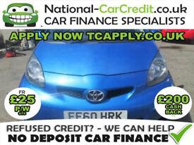 Toyota AYGO 1.0 VVT-i Blue 5dr Good / Bad Credit Car Finance (blue) 2010