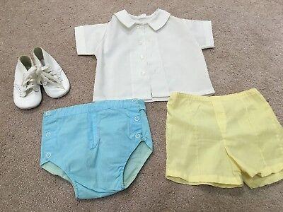 Baby boy vintage clothes - 2 pr. pants, shirt & shoes sz. 3