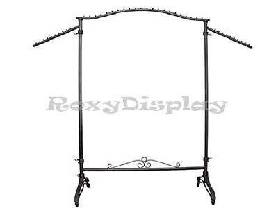 Display Clothes Rack Raw Steel Rolling Garment Rack -