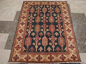 Super Kazak Caucasion Geometric Afghan Veg Dyed Mahal Hand Knotted Rug Carpet (4.11 x 3.6)'
