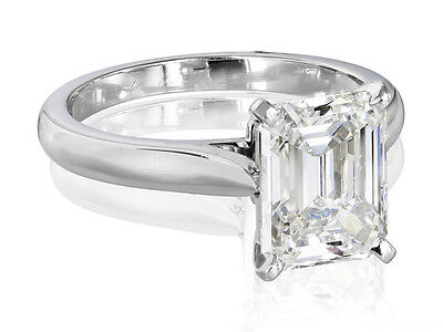 1.25 Ct Emerald Cut Solitaire Diamond Engagement Ring I,VVS1 GIA Platinum 950