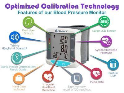 Clever Choice English Spanish Talking Wrist Blood Pressure Monitor SDI 2086WT