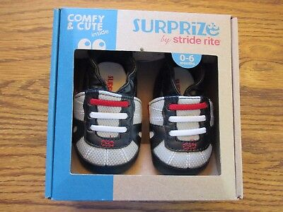 Surprize by Stride Rite sz 0-6 mo. black infant adjustable strap shoes NEW