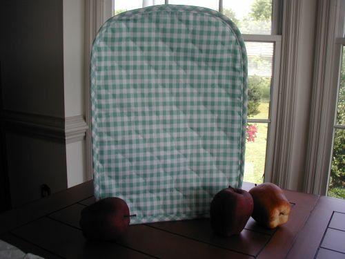 Spring Mint Green Gingham  Appliance Cover fits Kitchen Mixers, quilted fabric