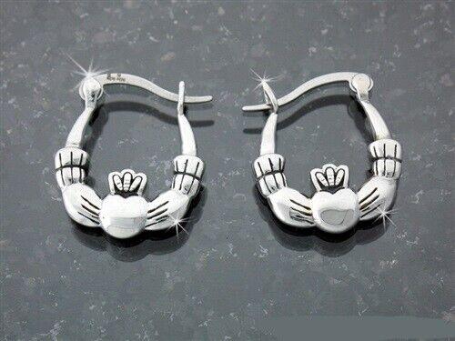 Classical Medium Double Sided Stainless Steel Claddagh Hoop Earrings