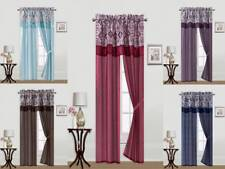 5PC SOLID WINDOW CURTAIN SET 2 PANELS,1 PRINTED VALANCE, 2 TIE BACKS R8 5COLORS