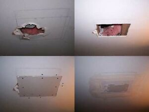 DRYWALL REPAIR- WATER LEAKS DAMAGE/ / PATCH HOLE + PAINT $99