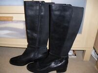 Black Real Leather Boots - Size 5 - New
