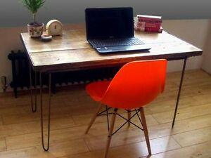 Industrial plank and hair pin leg desk