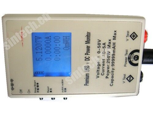 DC/USB solar panel/mobile power bank battery cacacity test current voltage meter