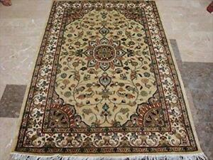 Awesome Ivory Medallion Flowers Lovely Area Rug Hand Knotted Wool Silk Carpet (6 x 4)'
