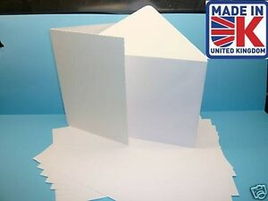 50 A5 350gsm WHITE GREETING CARD BLANKS WITH ENVELOPES