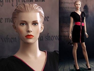 Female Fiberglass Mannequin Beautiful Face With Molded Hair Style Ad03-mz
