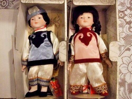 1990 Vintage 833/5000 Signed Oriental Porcelain dolls Ming-Ming & Ling-Ling NRFB