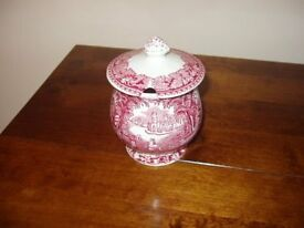 Rare Masons Pink Vista preserve jar with matching underplate