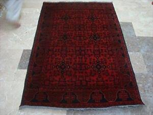 Rectangle Area Rug Excellent Khal Muhamadi Afghan Dark Red Hand Knotted Wool Carpet (6.1 x 4.1)'