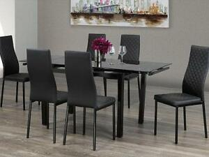 7PCS  GLASS   DINING  TABLE SET $299  LOWEST PRICES GUARANTEED