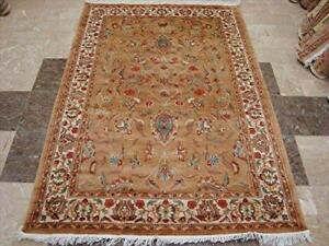 Awesome Pestal Floral Medallion Area Rug Hand Knotted Silk Wool Carpet (6 x 4)'