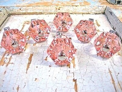 SHABBY & CHIC PINK  Pane KNOBS ( SET OF 6 ) * FURNITURE APPLIQUES & HARDWARE