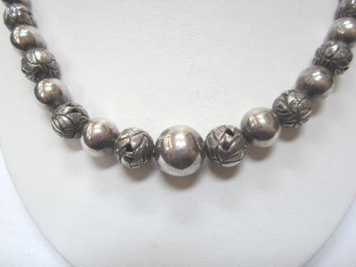 Sterling Silver Graduated Bead Necklace Ebay