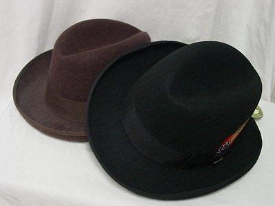Homburg Homborg mens godfather hat Dorfman Pacific Scala BLACK or BROWN S-XXL Brown Mens Hat