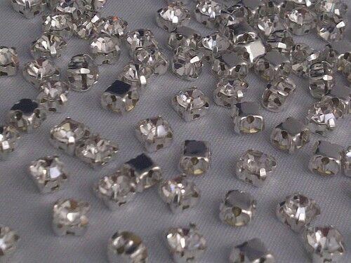 CraftbuddyUS 100pcs 4.3mm Sew On Clear Silver Set Glass Diamante Rhinestone Gems