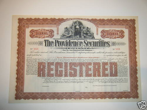 The providence securities $10,000 gold debenture 1940s