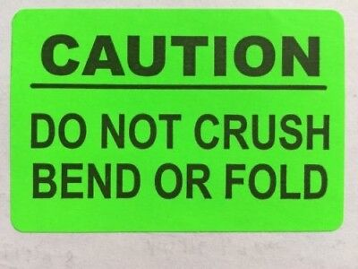 1fragile Sticker Caution Do Not Bend Or Crush 2x3in Neon Orange Shipping Label