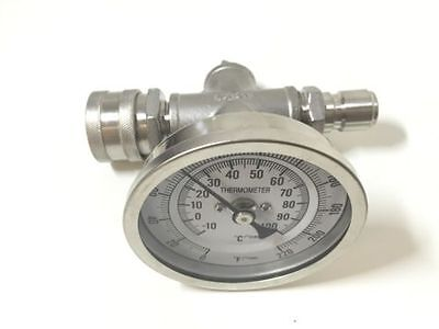 Homebrew In-line Thermometer With Stainless Quick Disconnects 12thread