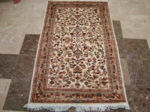 Awesome Ivory Flowers Allover Wool Silk Rectangle Area Rug Hand Knotted Carpet (5 x 3)'