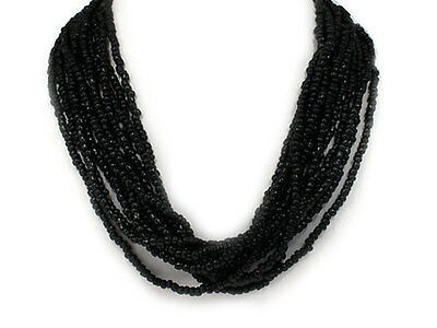 Designer-Style Multi  Strand Seed Beads Black Seed Beed Necklace - Beed Necklace