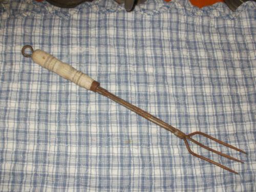 Antique Fork Wood Handle Ebay