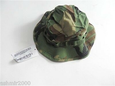 """US Military Issue HAT,SUN,WOODLAND CAMO TYPE III Size:7 1/8""""(Boonie Hat) NEW!"""