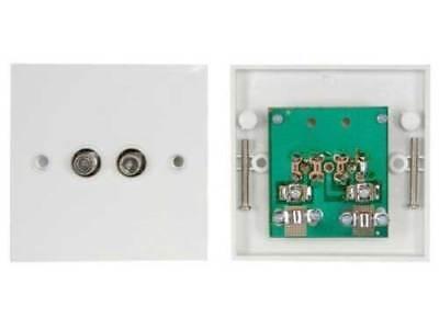 TV Satellite Wall plate Twin F-Type F Plug  Screw Type Dual White Sky Dual Tv Wall Plate