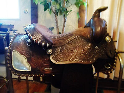 VINTAGE USA MADE BUFORD DARK OIL SILVER LACED SHOW SADDLE
