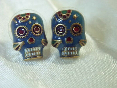 Vintage 1980's Enamel VooDoo Creepy Pierced Earrings Green Enamel Skull  221D8