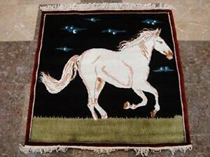 Exclusive White Horse Oriental Square Rug Hand Knotted Wool Silk Carpet (3 x 3)'